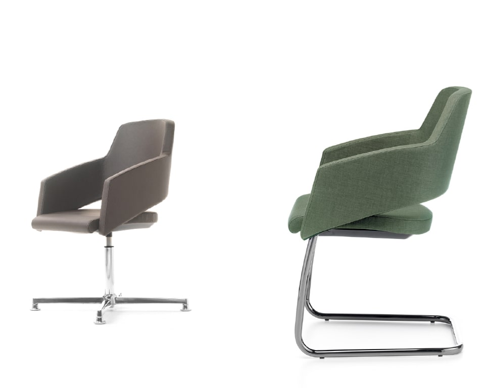 leather or fabric meeting room chairs . The visitors chairs have elegant chrome frames and are excellent compact boardroom chairs