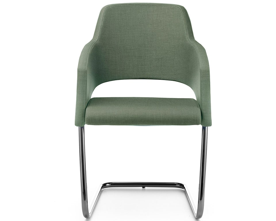 The Major visitors chairs have elegant chrome frames and are excellent compact boardroom chairs shown here in green fabric.