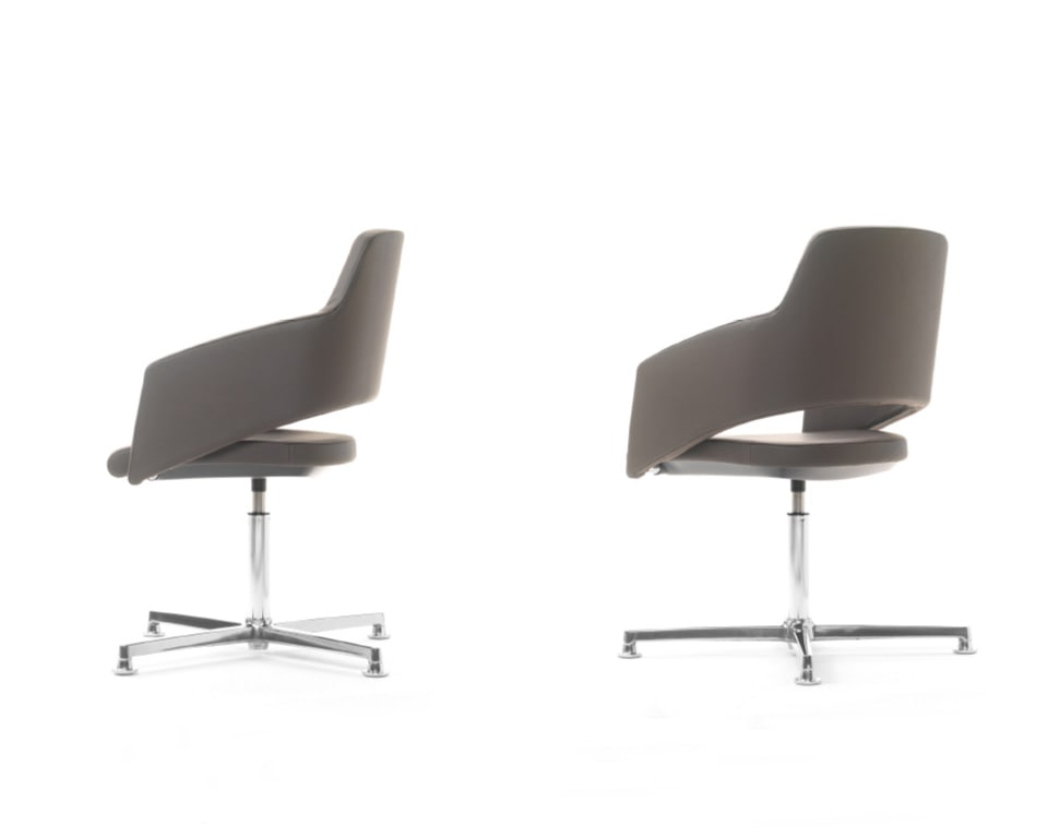 The Major visitors chairs have elegant chrome frames and are excellent compact boardroom chairs shown here in real Italian leather . The 4 spoke meeting chair has an elegant die cast aluminium return swivel base