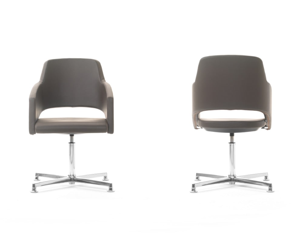 The Major visitors chairs have elegant frames and are excellent compact boardroom chairs shown here in real Italian leather . The 4 spoke meeting chair has an elegant die cast aluminium return swivel base