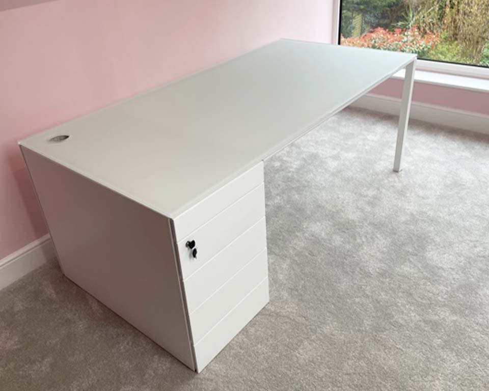 White Glass Executive desk with white lacquered drawers. Large executive desk 2000 x 900 with hand polished cable hole