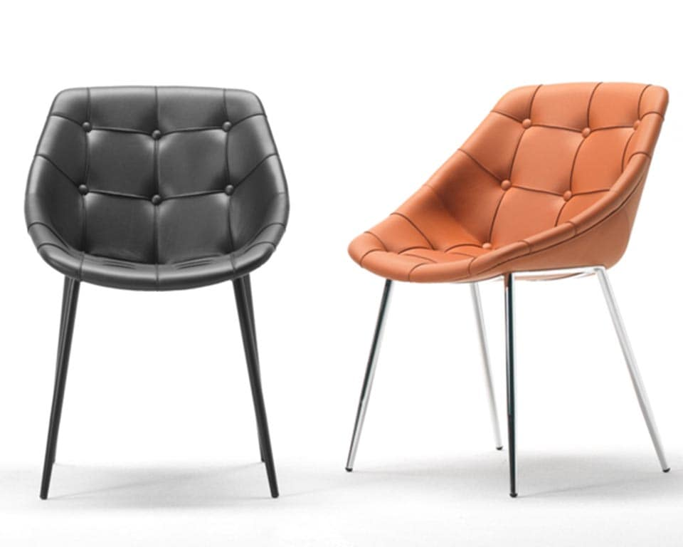 Stylish high quality occasional chairs from Sitia . These designer chairs are ideal boardroom and dining room chairs. Select models in leather or fabric with or without the button upholstery detailing