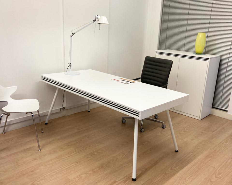Premium quality White designer desk lacquered in matt white with white legs and black and white horizontal stripes detailing. 1800 x 900 executive desk with matching low cupboard