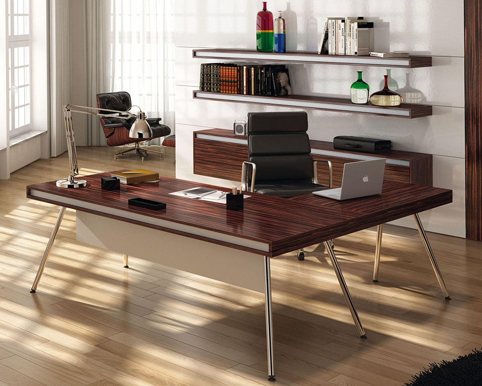 Premium High Quality Ebony Wood Desk for Executive offices - Modern executive office L shaped desk with an ebony wood top and matt white lacquered horizontal bands. Stylish chrome legs and a small personal drawer.