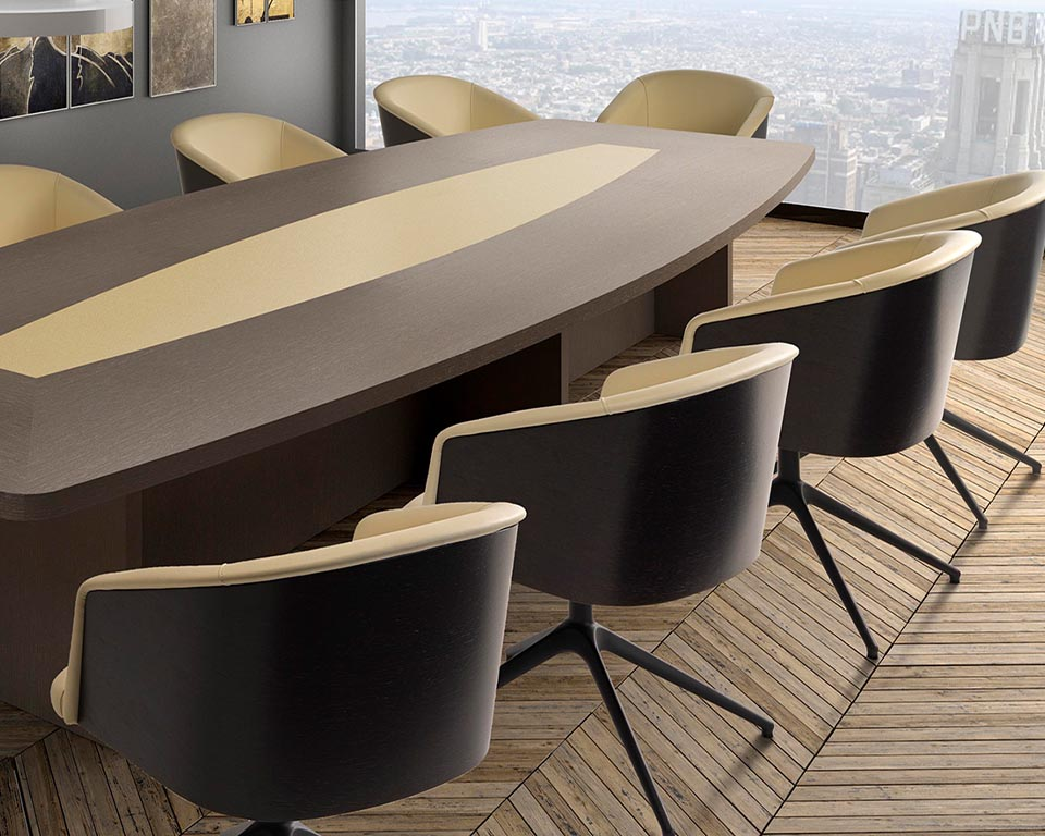 Premium quality designer boardroom chairs with a stylish 4 spoke base with or without a return swivel mechanism. Upholstered in cream leather with a dark oak wood outer shell