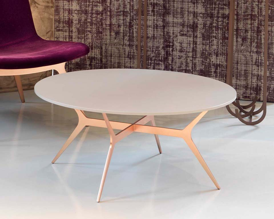 Luxury quality round coffee tables - Shown here in matt white lacquered finish with stylish gold leg design