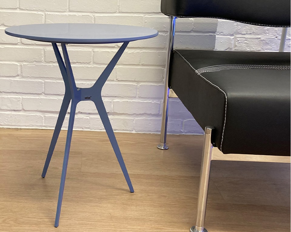 Luxury quality side tables - Shown here in cobalt blue lacquered finish with stylish tripod leg design and black leather Momo sofa