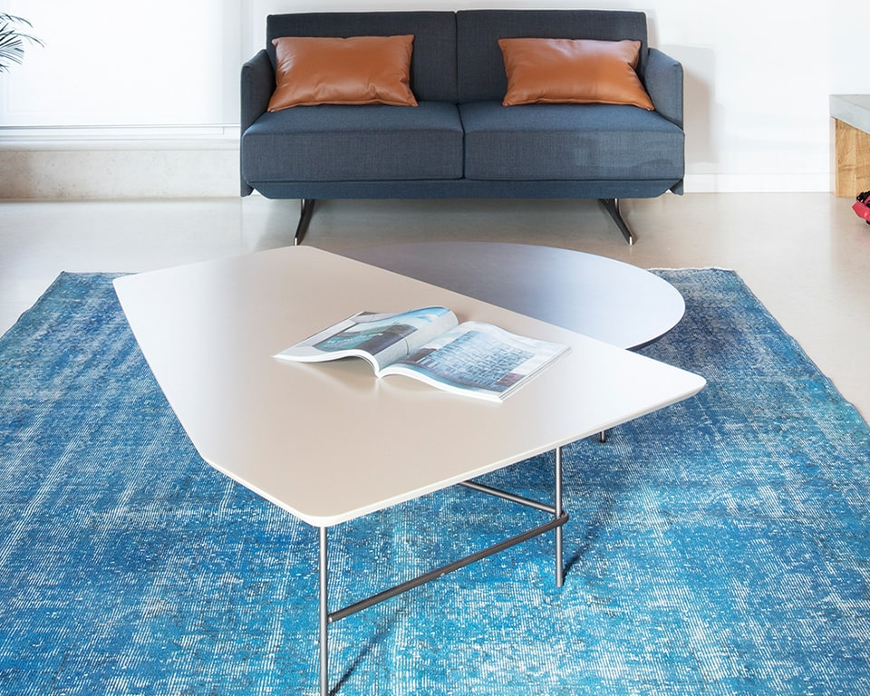 Designer coffee tables - Large two tier coffee tables with chrome frames and tops in modern matt lacquered colours