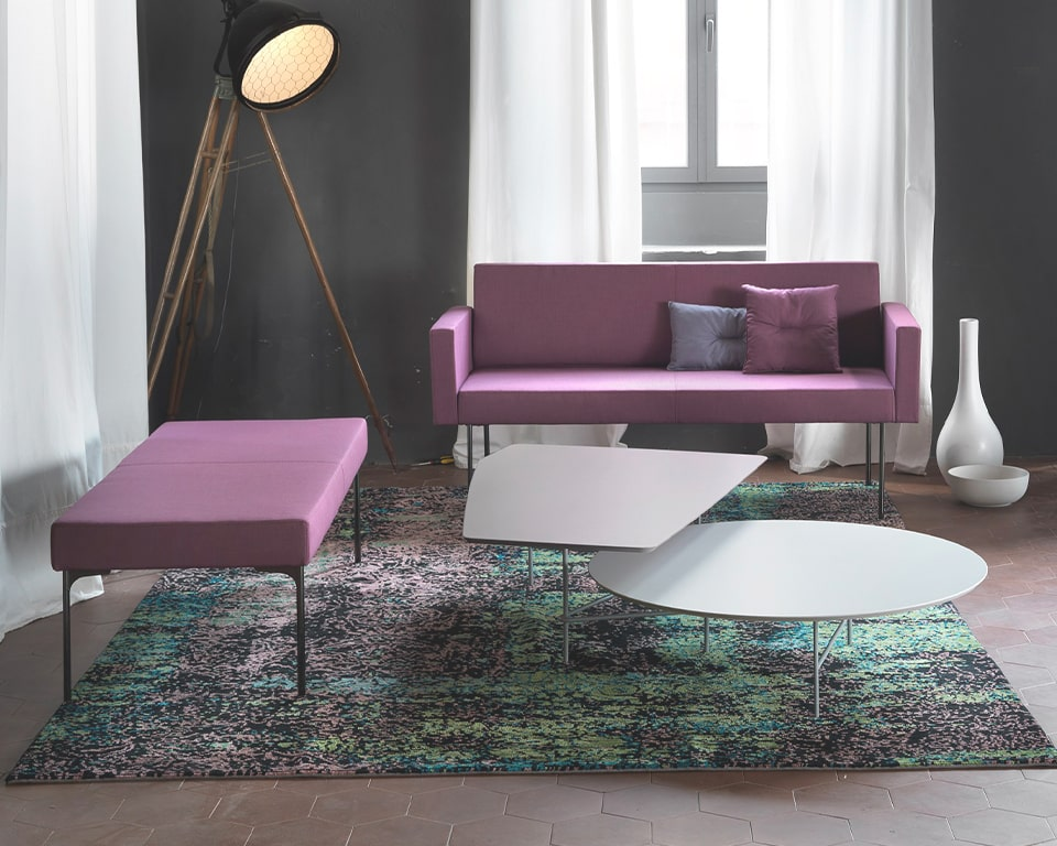 High quality compact depth designer office and reception area and sofa shown with white lovers coffee table