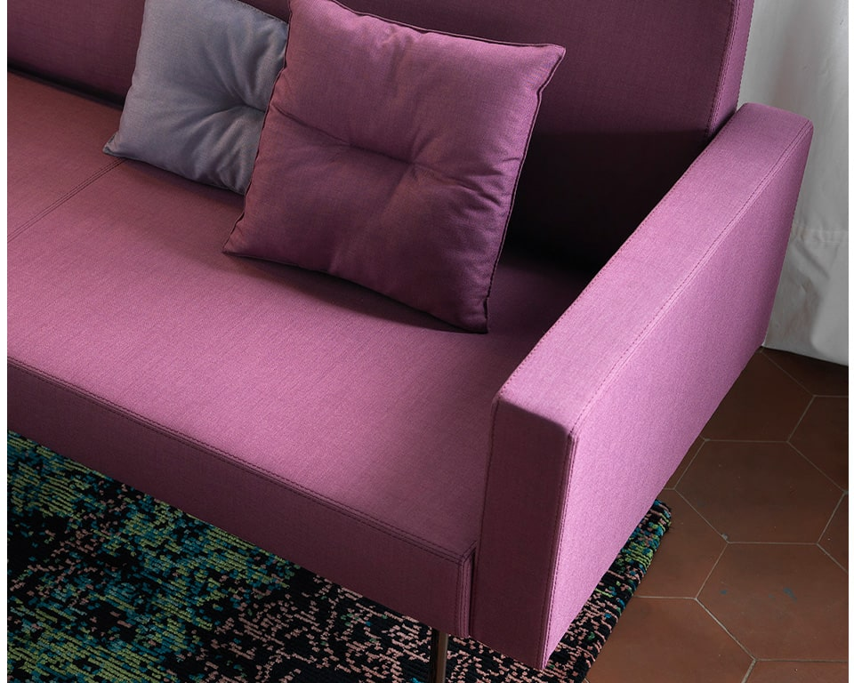 Laguna arm and double stitching detail for these high quality modular reception seating sofas