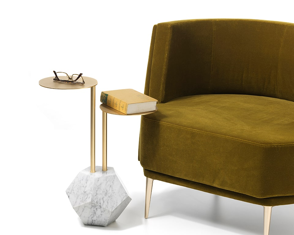 High end luxury designer marble and gold coffee table with table tops at two convenient heights