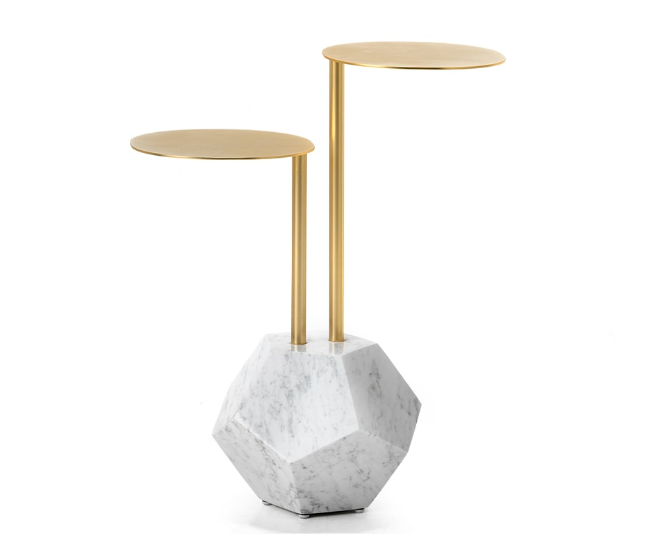 Mr Brown luxury marble and gold coffee table with table tops at two convenient heights