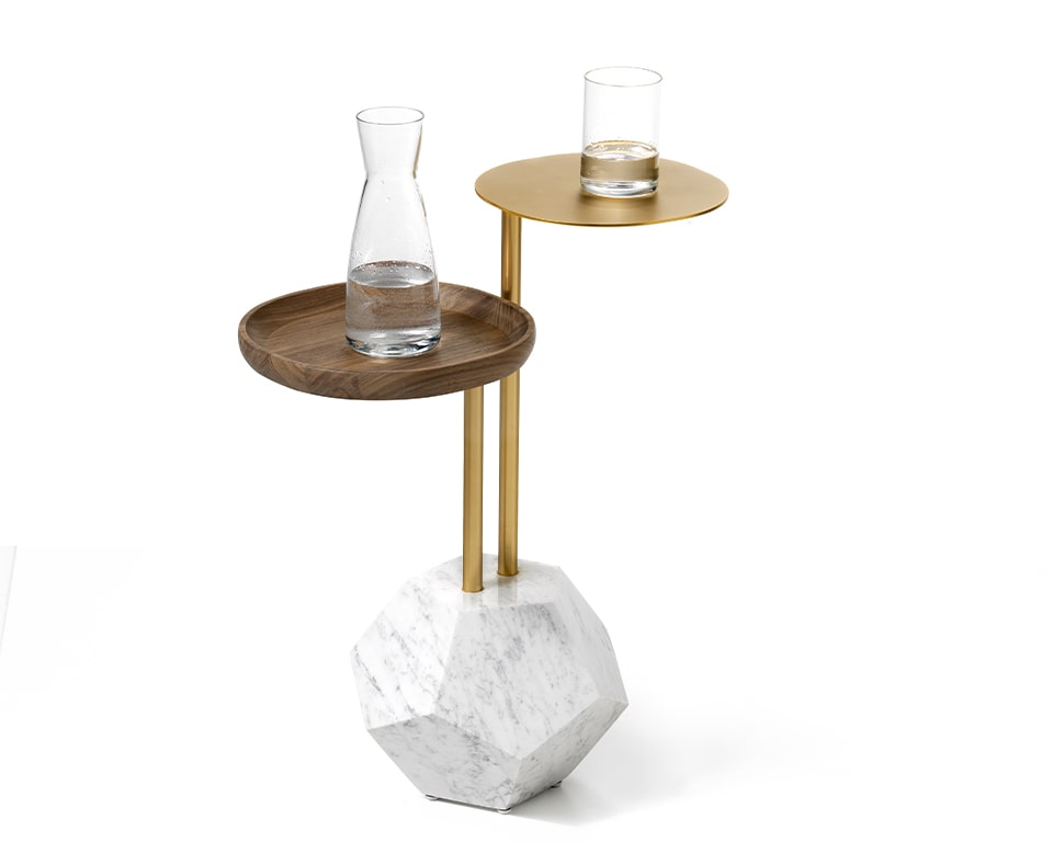 luxury Italian marble and gold coffee table with table tops at two convenient heights with real walnut serving tray
