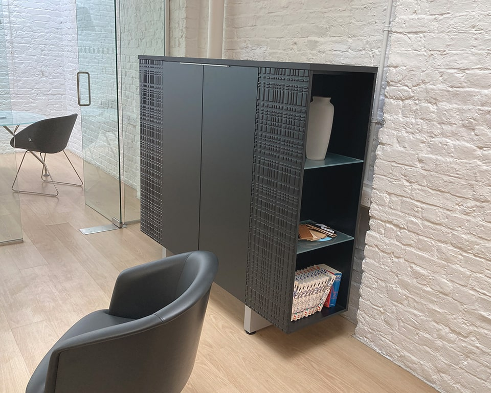 High quality office bookcase - Modi is a medium height combination office cupboard and display book case for your executive offices.Shown here in matt black lacquer It perfectly matches Modi executive desks
