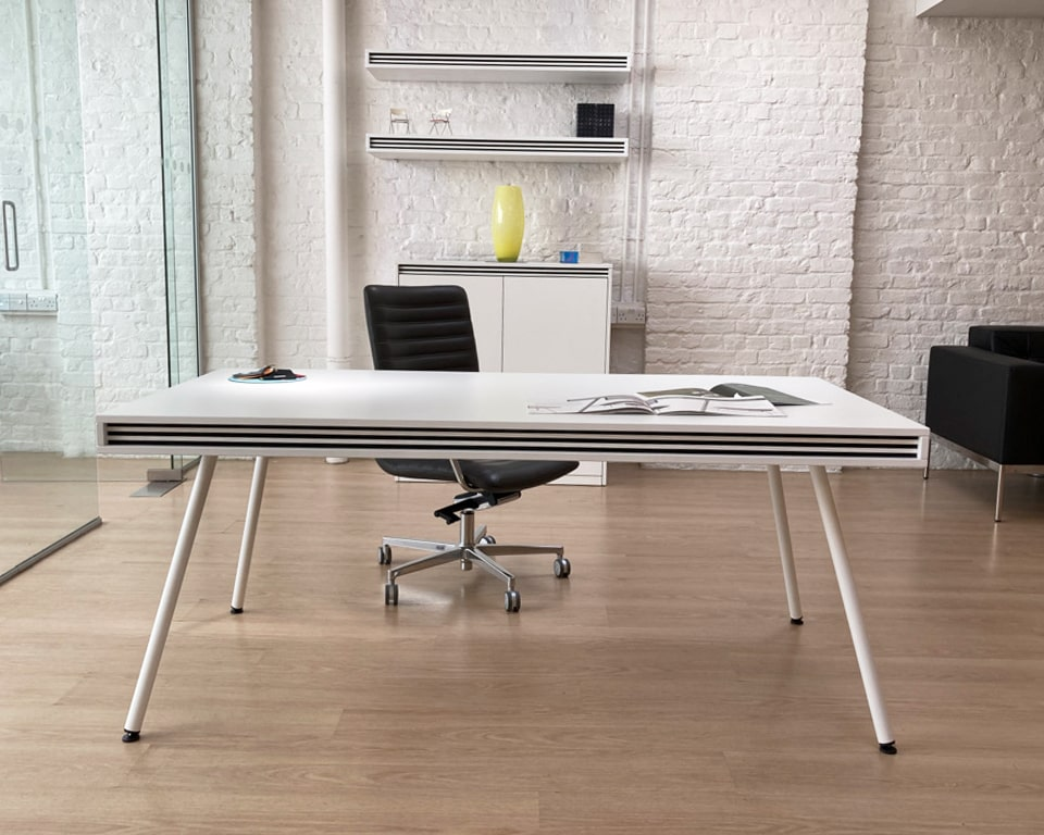 White designer desk for executives and home offices- ON stripes 1800 x 900 desk size with white legs and matching white lacquered cupboard and wall mounted shelves