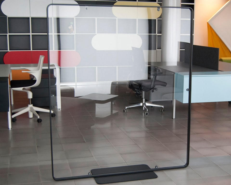 Premium quality Designer screens for offices with Covid 19 Perspex internal panels which can easily be removed and replaced with fabric or lacquered panels