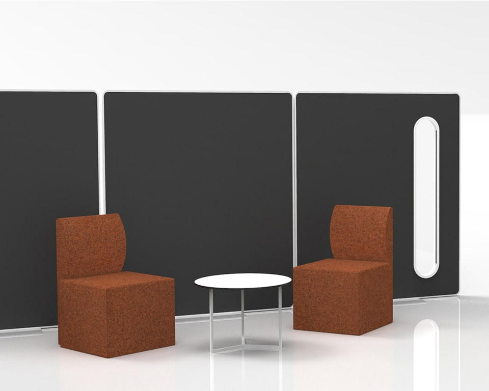 High - End Premium quality Free standing office divider screens in white with removable panels in matt lacquered. fabric or clear perspex.