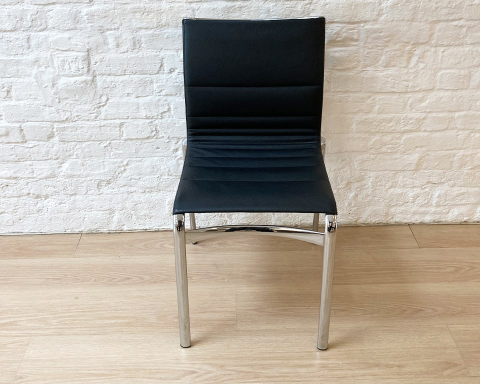 ALIAS BIG FRAME 44 CHAIR BY ALBERTO MEDA - Big frame 44 chair with black leather upholstery and a chrome frame. Ex showroom offer for one chair only. Ideal as a home office chair or a feature chair in a bedroom
