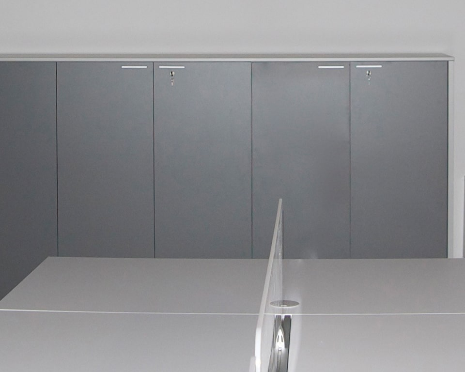 OFFICE SIDEBOARDS AND CUPBOARDS - shown here in two tone grey laminate with locks. suitable to store box files and to be used as filing cabinets