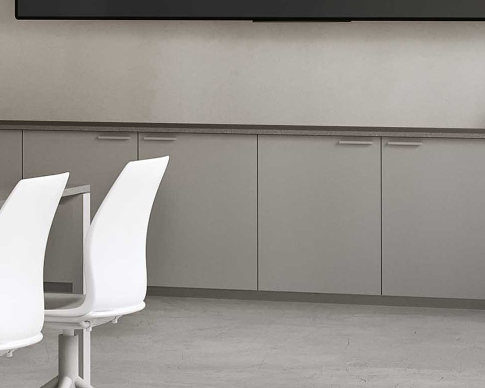 LOW OFFICE SIDEBOARDS AND CUPBOARDS - shown here in two tone grey laminate with locks. suitable to store box files and to be used as filing cabinets