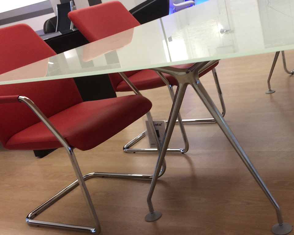DESIGNER GLASS MEETING TABLE - high quality Italian boardroom tables in white glass , black glass and die cast aluminium legs in polished, white or black