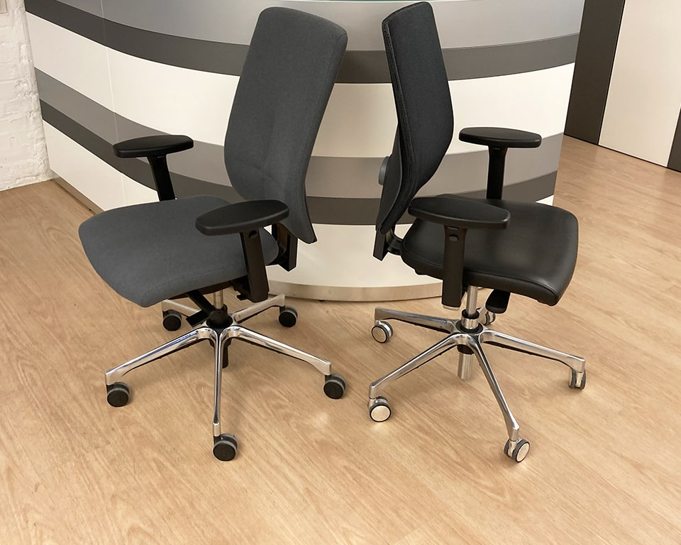 COMPUTER OPERATORS CHAIRS- high quality Italian office chairs with fully upholstered or mesh backs. Height adjustable backs. Seat height adjustment with synchronous action. Height adjustable arms . available as fabric office chairs or leather office chairs