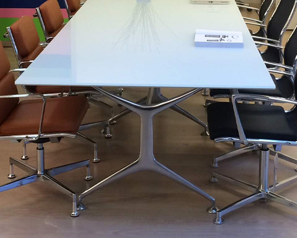 GLASS TOP BOARDROOM TABLE - high quality Italian boardroom tables in white glass , black glass or clear glass tops and die cast aluminium legs in polished, white or black