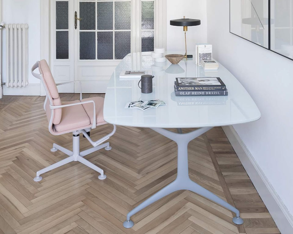 White glass Executive office desk - luxury Italian designer office table with die cast aluminium legs in matt white . Excellent 1900 x 950 shaped glass desk for home or the office.