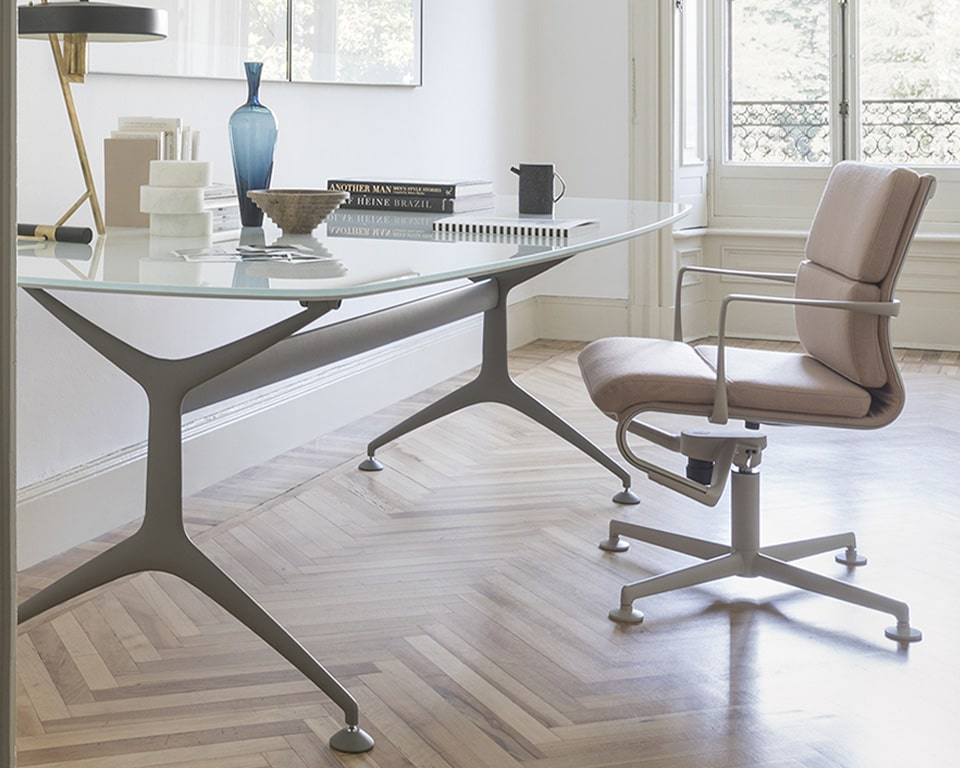 White glass Home office desk - luxury Italian table with die cast aluminium legs in matt white . Excellent 1900 x 950 shaped glass desk.