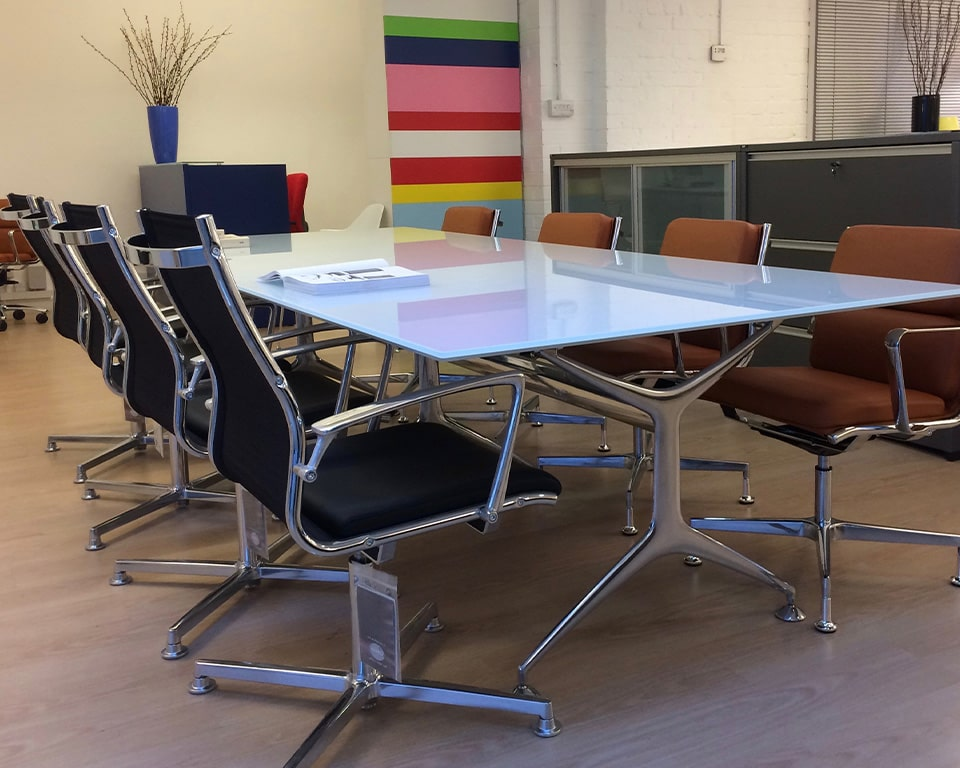 GLASS TOP BOARDROOM TABLE - high end quality Italian boardroom tables in white glass , black glass or clear glass tops and die cast aluminium legs in polished, white or black