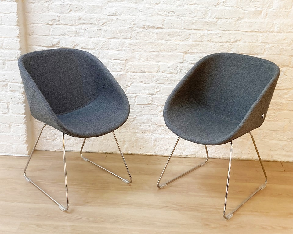DESIGNER TUB CHAIRS WITH CHROME FRAME - These high quality tub chairs and meeting room chairs are available in leather or fabric. Shown here in mid grey fabric