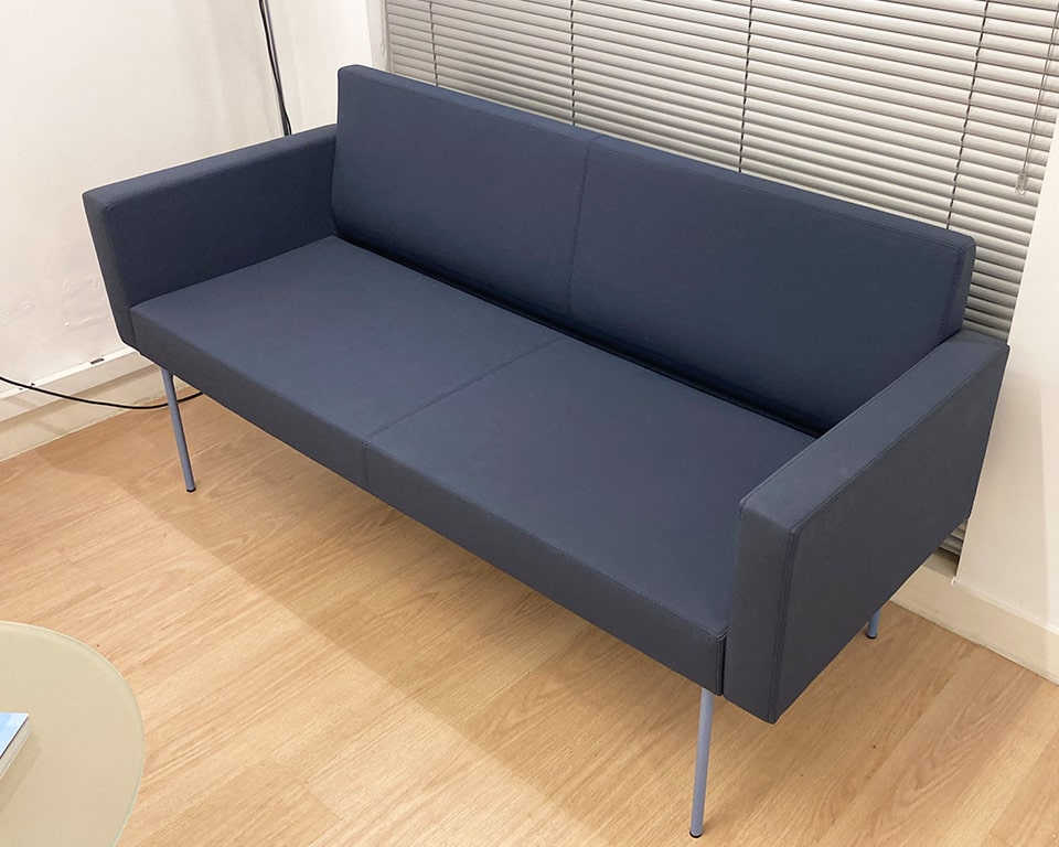 High end reception sofa - the Laguna two seat sofa is compact and is part of the extensive modular seating range of straight and curved modules