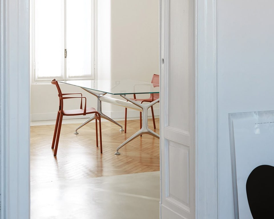 GLASS DESK - high quality small glass home office desk 1600 x 800 shown in 12 mm transparent glass with polished die cast aluminium legs and beam. An elite designer glass table for the home office