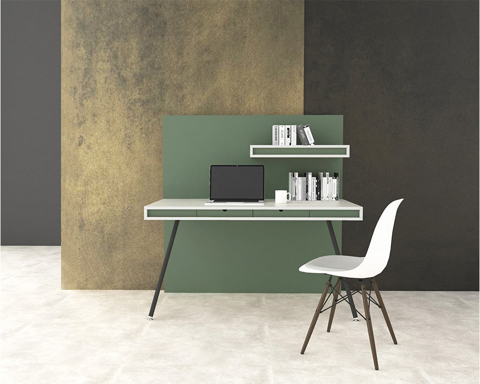 High Quality Italian Home office or small office desk-ON WALL is a self contained home office desk with its own integral full height privacy wall and shelf shown here in matt white with green lacquered horizontal bands and a green divider panel.