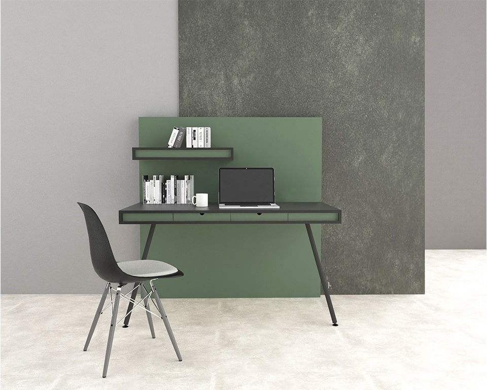 Luxury High end Home office or small office desk-ON WALL is a self contained home office desk with its own integral full height privacy wall and shelf shown here in matt black with green lacquered horizontal bands and a green divider panel.