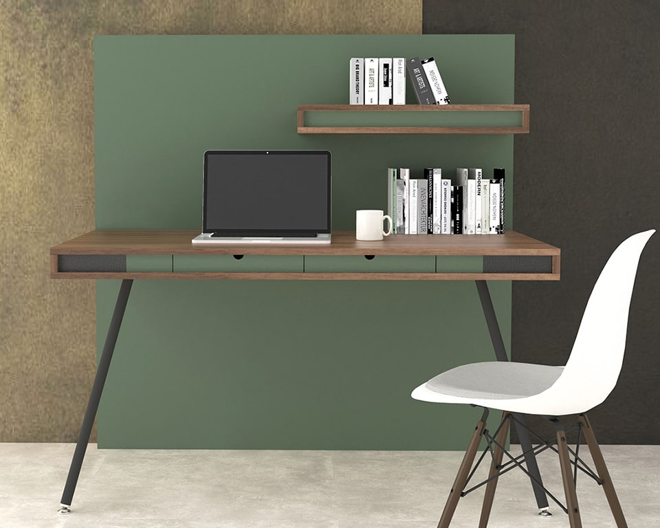 Luxury High end Home office or small office desk-ON WALL is a self contained home office desk with its own integral full height privacy wall and shelf shown here in Canaletto Walnut wood with green lacquered horizontal bands and a green divider panel.
