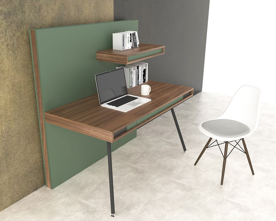 HIGH QUALITY WORKSTATION FOR HOME OR THE OFFICE - On wall is a high end managers style desk with its own screen divider and handy small shelf directly above the desk top. The desk top includes 2 small drawers. The desk top and the screen divider can be wire managed. Shown here in Canaletto walnut and sage green lacquered combination