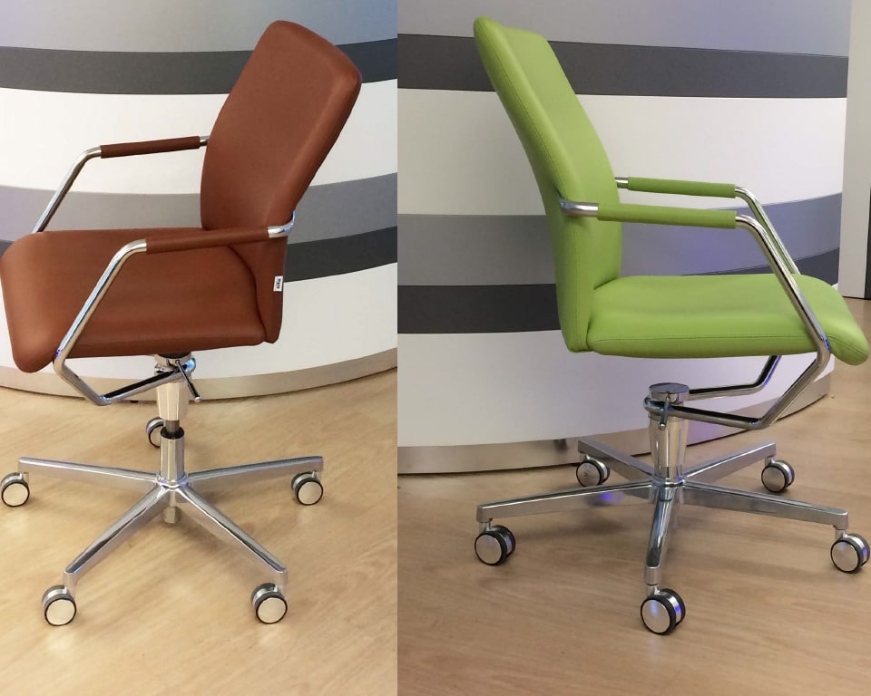 LUXURY HOME OFFICE CHAIRS in tan leather or Lime green leather other leather colours are available as standard, Chrome arms with leather arm pads. Die cast aluminium 5 star base and castors. Gas lift and swivel chair
