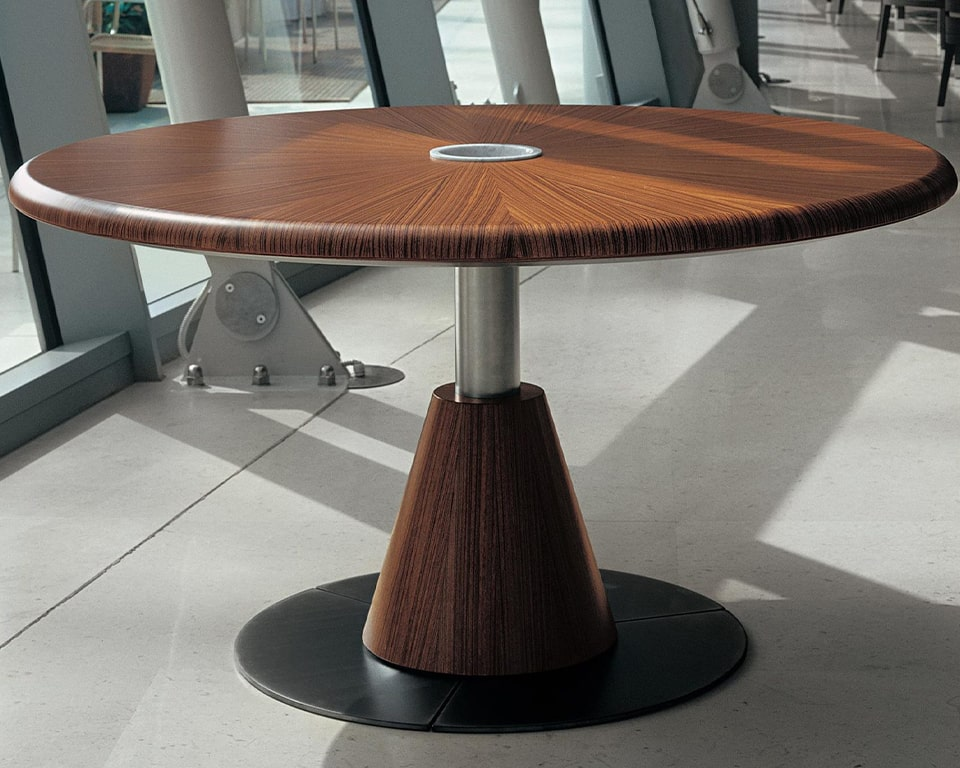 Luxury large round boardroom table in real wood. Shown here in Zebra wood but also available in dark oak and bleached oak. Other wood finishes available on request. Large designer board room tables 100% made in Italy.