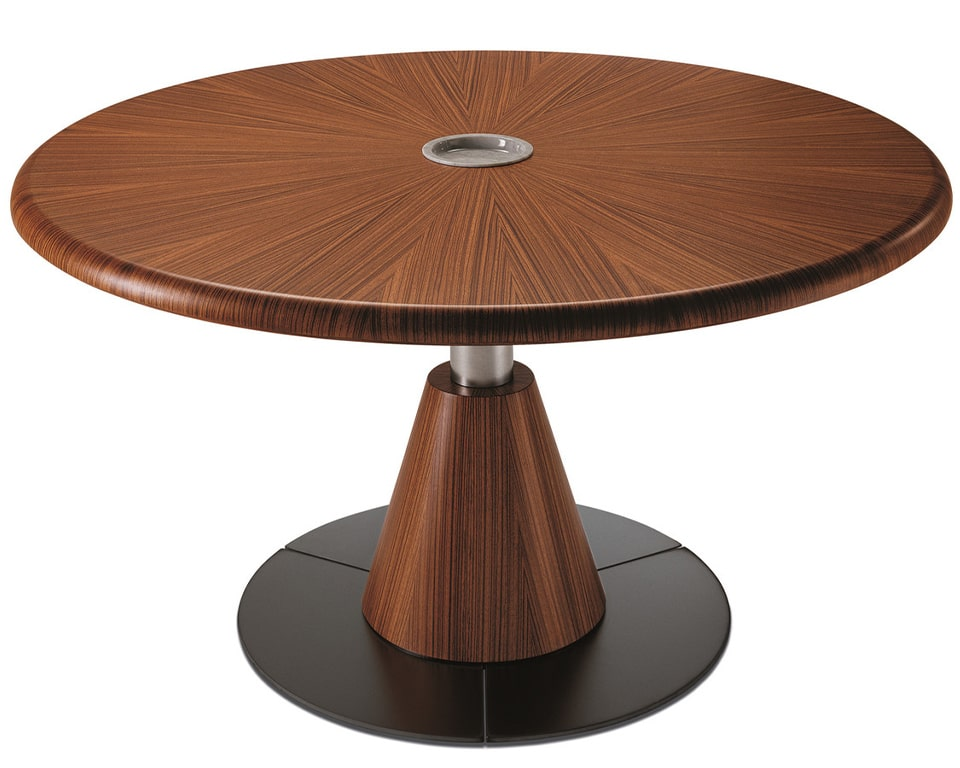 High quality large round boardroom table in real wood. Shown here in Zebra wood but also available in dark oak and bleached oak. Other wood finishes available on request. Large designer board room tables 100% made in Italy.