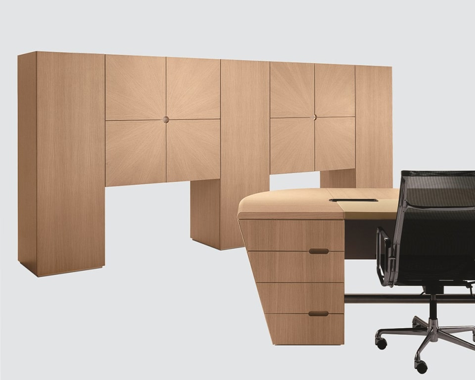 Stylish high end executive office furniture from Italy - The 16 Gradi executive desk is of premium quality and is shown here with matching tall cupboards and wardrobe