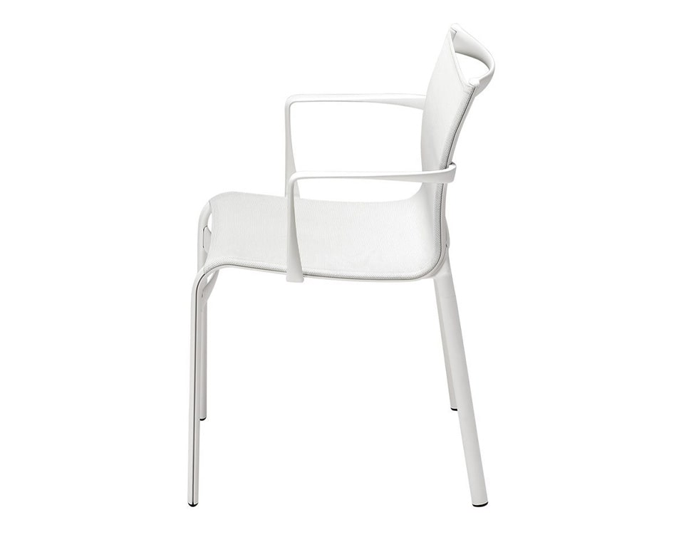 Luxury quality Mesh dining chairs - Big Frame 44 by Alias design are available with or without arms and shown here in all white version with arms. High - end Meeting room or dining room chairs from Italy side view