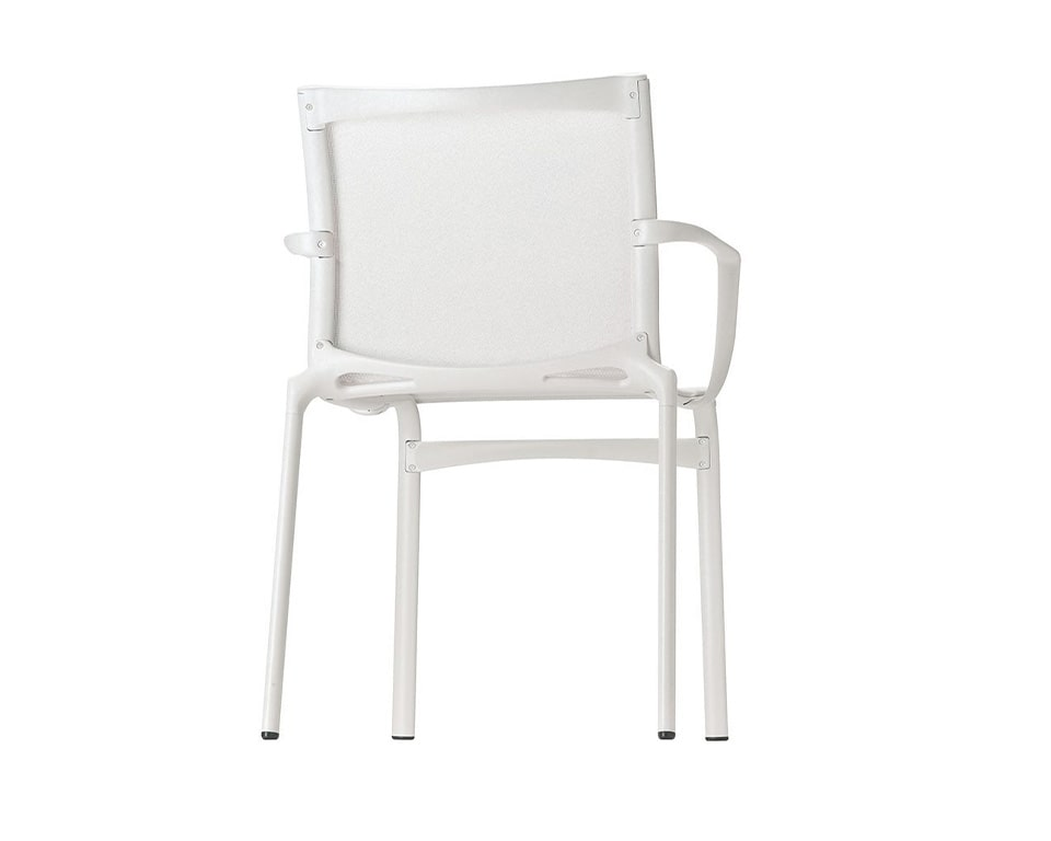 Luxury quality Mesh dining chairs - Big Frame 44 by Alias design are available with or without arms and shown here in all white version with arms. High - end Meeting room or dining room chairs from Italy