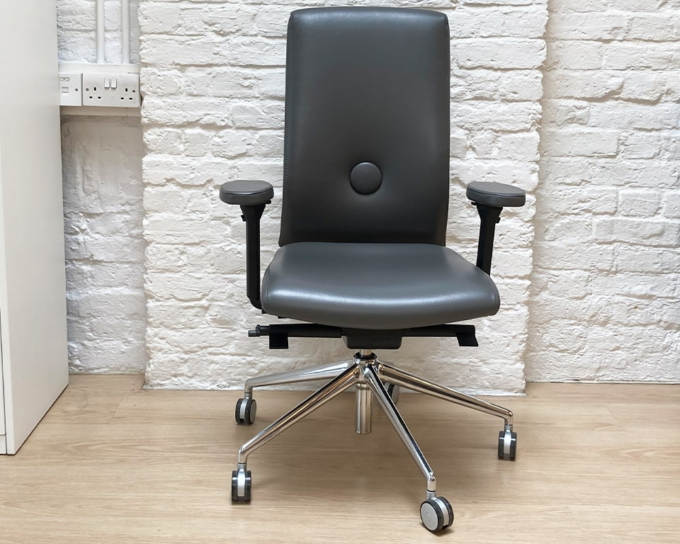High end executive chairs - Stylish Italian designer operators chair in Dark grey leather. Executive office task chair with fully adjustable arms. The arm pads are lalso upholstered in leather. Die cast polished aluminium base and castors. Seat depth adjustment. Gas lift height adjustment. Tilt. Height adjustable back for ergonomic support