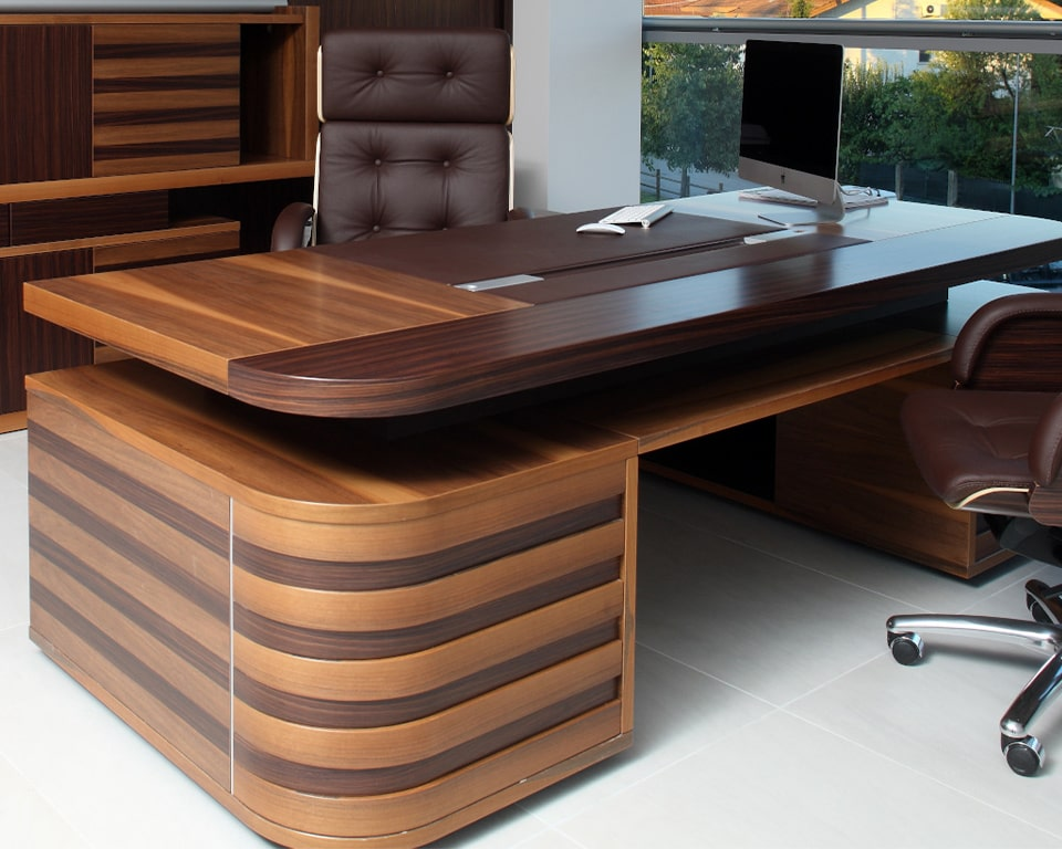 Luxury quality presidential desks -Large Double pedestal Executive desks - Edoc desk Shown in Rosewood and Italian combination with matching Nesi executive office chairs and matching Edoc sideboards