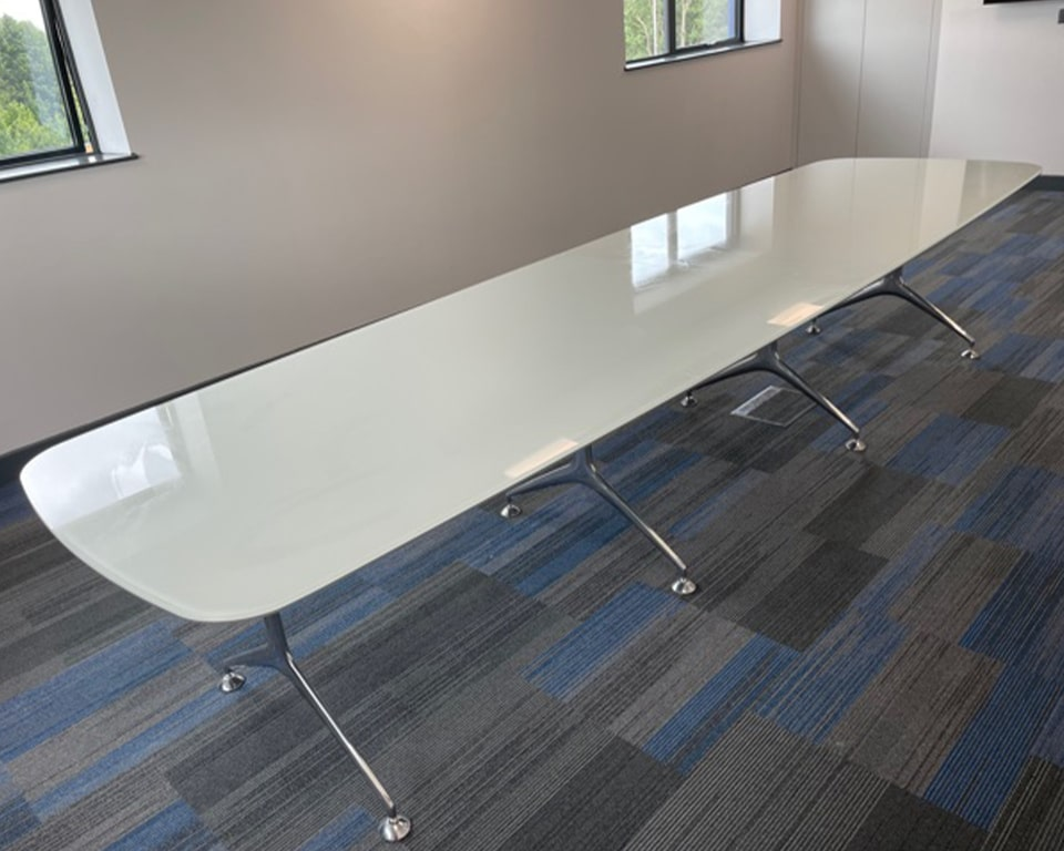 High quality Large glass boardroom tables -White Glass boardroom table elliptical shape with die cast aluminium legs 3800 x 1050 size