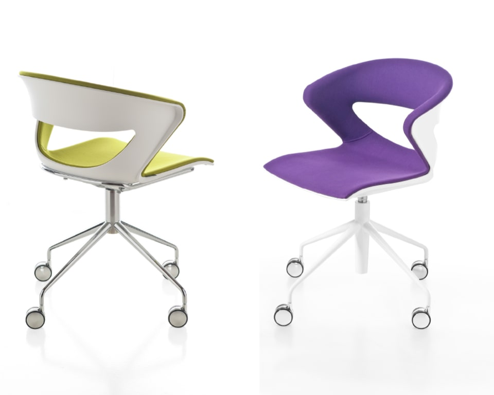 High quality swivel meeting chairs with castors - Stylish 4 spoke designer swivel base available with or without gas lift height adjustment. Fully upholstered polypropylene shells provide excellent comfort for long meetings. Shown here with a chrome frame and white frame with a fully upholstered seat and back