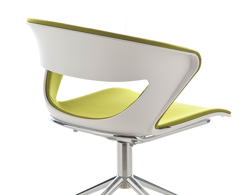 High - end swivel meeting chairs with castors - Detail of the back panel or this Stylish 4 spoke designer swivel base available with or without gas lift height adjustment. Fully upholstered polypropylene shells provide excellent comfort for long meetings. Shown here with a chrome frame and white frame with a fully upholstered seat and back