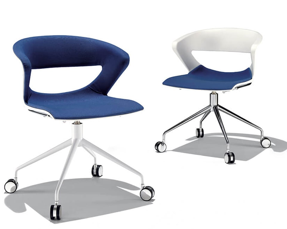 Luxury quality Italian meeting room chairs with castors - Stylish 4 spoke designer swivel base available with or without gas lift height adjustment. Fully upholstered stylish polypropylene shells with upholstered seats in white or other colours provide excellent design benefits and luxurious comfort for long meetings. Shown here with blue fabric upholstery and a chrome or white frame and white frame .