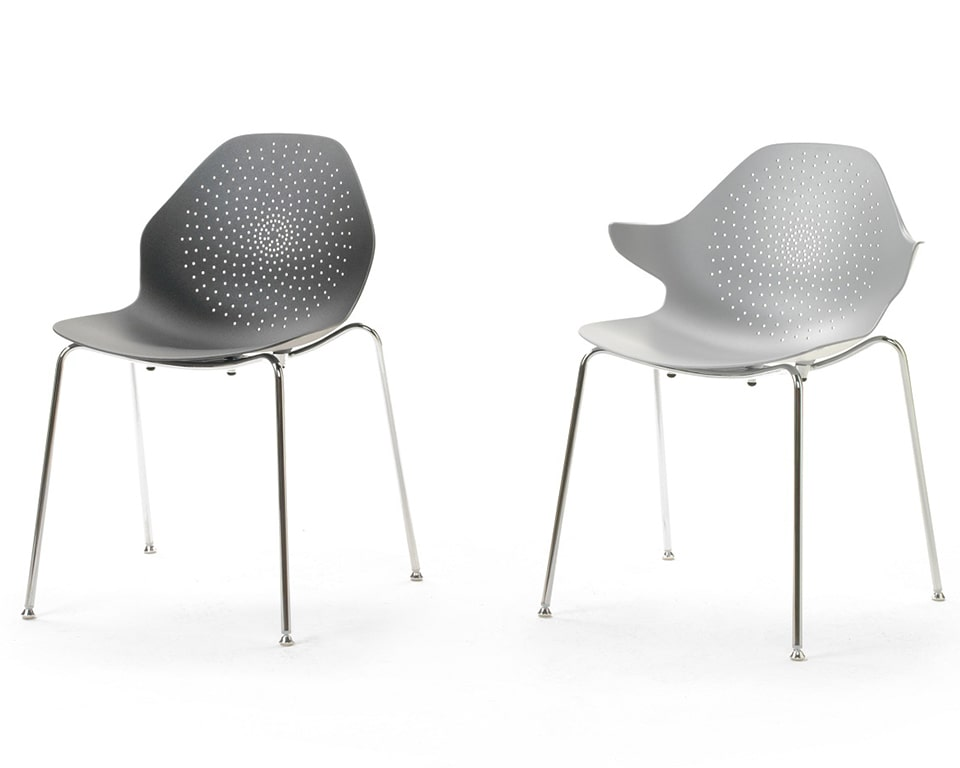 Luxury quality Stackable cafe chairs From Italy - These aluminium stacking chairs are available in a number of matt lacquered colours with or without the arm detail Shown here in all white with the stylish perforated seat and back design